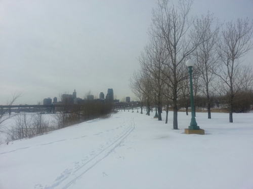 X COUNTRY SKIING ST. PAUL BESIDE THE MISSISSIPPI RIVER 19FEB2014; CATHERINE L. JOHNSON;