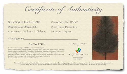 VONGSOUVAN + CATHERINE L. JOHNSON CERTIFICATE OF AUTHENTICITY;CATHERINE L. JOHNSON;
