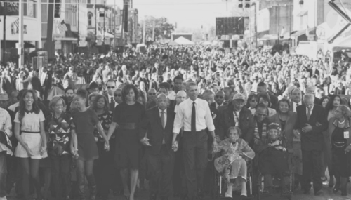 BLOODY SUNDAY 50th ANNIVERSARY PRESIDENT OBAMA and REP ( D-GA) JOHN LEWIS SELMA 7 MARCH 2015
